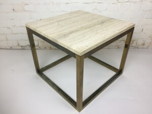 Striking Pair of MId-century Modern side tables - made in Montreal - these beauties are comprised of a brass base with a marble top - looks amazing with all styles of furniture - LOVE these - nice size - excellent vintage condition - incredibly durable (SOLD)
