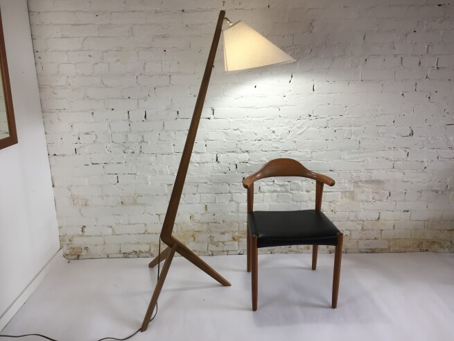 Exceptional custom ( made teak boomerang floor lamp -made using an original1960's solid teak dining table - Vintage meets New - comes with a new custom shade - One of a Kind - $900