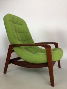 "Gorgeous 1960's ""scoop"" chair by R.Huber Canada - newly restored in a lovely chartreuse greeny/yellow fabric by Maharam - re-finished solid teak frame also - this chair is not only fabulous looking it has a reputation as being one of the most comfortable chairs - come try it out - $2200"