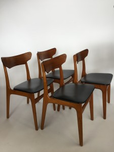 Gorgeous set of 4 Daniish teak dining chairs with black vinyl seats by Schionning and Elgaard for Randers circa 1965 (SOLD)