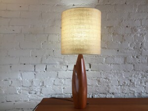 Gorgeous Mid-century Modern solid teak table lamp with a fabulous vintage shade - (SOLD)