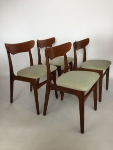 Gorgeous set of 4 Danish teak dining chairs recently upholstered designed by Schionning and Elgaard for Randers circa 1965 $1,200/set