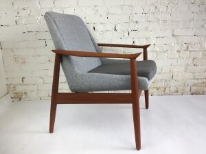 """Exquisite Early 1950's Danish arm chair designed by Architect duo Arne Vodder and Anton Borg for Slagelse Mobelvaerk - Made in Denmark -this solid teak beauty is small in shape but impactful in design with carved sweeping arms - completely restored with gorgeous high quality light grey wool by Kvadrat fpr the body of the chair and a medium grey high quality fabric """"hallingdal"""" by Kvadrat for the seat - natural latex was used for the seat cushion for extra comfort and the solid teak frame has been refinished also - this is one gorgeous chair - (SOLD)"""