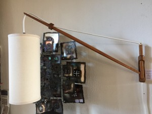 Exquisite Mid-century Modern teak wall light with custom new cylindrical shade - adjustable side to side - mount to your wall in just the perfect spot - (SOLD)