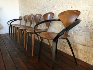 Outstanding Sculptural Set of dining chairs - Designed by Norman Cherner for Cherner Chair Company - originally designed in 1958 - super iconic, comprised of moulded plywood in layers - moulded for superior comfort and posture - 2 arm chairs and 4 sides - (SOLD)