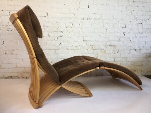 Incredible design by Canadian Designer Thomas Lamb - Steamer Chair by Dubarry Furniture Ltd.. Nine-ply Canadian maple molded with identical curves and cuts, has a form that provides optimal seating and support - comes with the original cushions - :) The first Canadian product to be included in the permanent collection of The Museum Of Modern Art, NYC. Featured on Canadian Design Resource: 25 of Canada's Best Chairs. 1978. - a collector's dream chair - (SOLD)