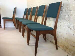 Spectacular Set of Mid-century Modern teak dining chairs - newly re-finished solid teak frames and all new foam and upholstered in a stunning teal blue wool by Kvadrat - $3000 /Set