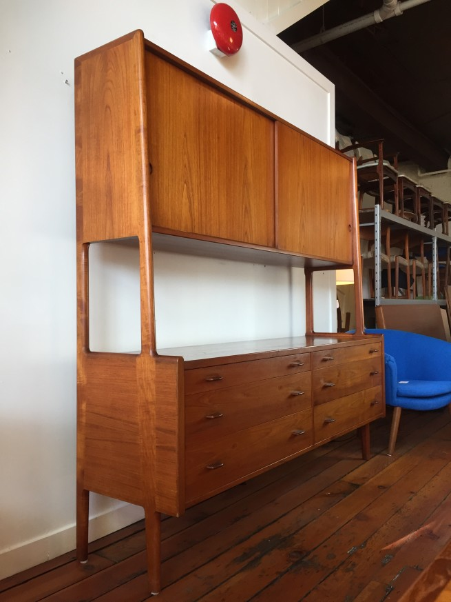 OH MY - Hans J. Wegner teak cabinet by RY Mobler - Made in Denmark - circa 1950's - incredible Danish craftsmaship - all dovetailed cabinetry and solid teak front drawers - gorgeous dark rich patina - fabulous vintage condition