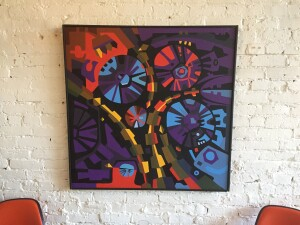 Incredible vibrant large abstract painting signed Lugwig 1966 - $1400 (SOLD)