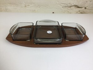 Fantastic 1960's teak and glass condiment tray- the glass inserts are removable for easy cleaning - made in Denmark - $40