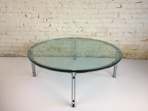 """Outstanding Mid-century Modern glass and chrome plated steel coffee table designed by Horst Bruning for Kill International - Germany - designed in 1963 - this vintage beauty was built to last - it is in very nice condition - measures 43"""" in diameter x 16""""H -$1,200"""