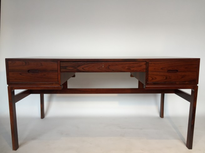 Exceptional 1950's Rosewood Executive Desk - Designed by Arne Wahl Iversen - newly re-finished and looking like new - incredible quality craftsmanship - finger-jointed joinery - dovetailed drawers - minimalism at it's finest - (SOLD)