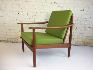 Incredible 1960's teak lounge chair by Fabian - made in Denmark - recently refinished solid teak frame and upholstered in a brilliant green wool - WOW - very comfortable - come try it out - (SOLD)