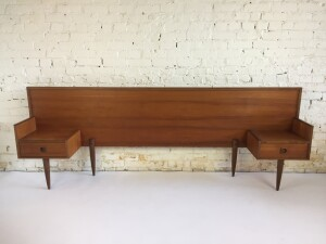 Handsome Mid-century Modern teak headboard with floating end tables - almost a queen :)