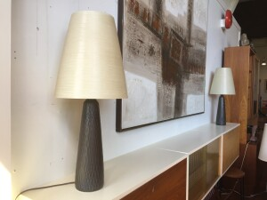 Outstanding Pair of Rare Ceramic lamps by Lotte and Gunnar Bostlund - they come with the original fiberglass shades