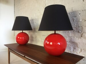 Marvelous Pair of Mid-century Modern orb ceramic lamps in a punchy red glaze with their original black shades - perfect combo(SOLD)