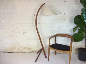Fabulous MCM teak floor lamp with a new custom shade (SOLD)