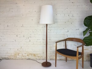 """Fabulous Mid-century Modern teak floor lamp with a new custom shade - a gorgeous marriage of old and new - :) stands 59""""H - $400"""