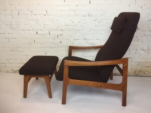 Exceptional Mid-century Modern high back teak lounge chair and ottoman by Oscar Grann - newly upholstered in a high quality chocolate brown soft wool by Maharam - this beauty has all an incredible built in lumbar for comfort and support - use your own body weight to kick back into more longed position and try not to fall a sleep :) - (SOLD)