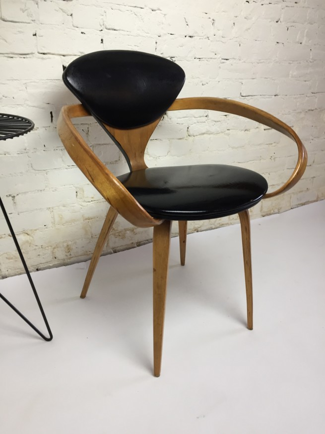 "Iconic incredible ""Pretzel"" Chairs by American Designer Norman Cherner for Plycraft, USA, 1958 - comprised of bentwood in Beech and black naugahyde - this chair comes with a long fascinating history - look it up or ask us ...- 2 -available in the black naugahyde - (SOLD)"