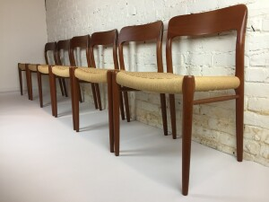 Gorgeous Set of 1960's Scandinavian Modern teak dining chairs designed by Niels O. Moller for J.L. Moller - Model #75- Made in Denmark - the seats have been recently re-woven with new paper cord to last another 50-60 years - $3000/set