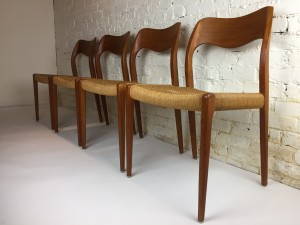 Gorgeous Set of 1950's Scandinavian Modern teak dining chairs designed by Niels O. Moller for J.L. Moller - Model #71 - Made in Denmark - in gorgeous original vintage condition -(SOLD)