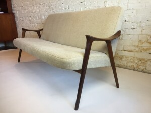 """Stunning Mid-century Modern Afromosia Teak 3 seater sofa -Made in Norway - very nice vintage condition - with newer neutral tasteful upholstery -perfect for smaller spaces - this beauty measures 65.5″W x 26″D x 17″SH x 31""""BH - (SOLD)"""