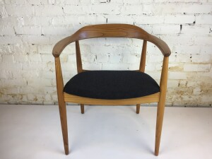 """Exquisite MId-century Modern arm chair known as the """"round chair – designed by Illum Wikkelso for Niels Eilersen – Made in Denmark – newly refinished solid elm frame and newly upholstered seat in a gorgeous charcoal wool by Kvadrat -incredible Danish Craftsmanship (SOLD)"""