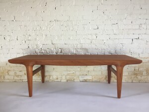 """Absolutely stunning Mid-century Modern teak coffee table designed by Johannes Andersen - Made in Denmark - high quality craftsmanship - incredible grain pattern - this beauty has been refinished and looks amazing - measures - measures -59""""L x 22""""D x 18""""H"""