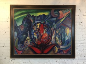 """Exceptionally Bold large painting titled """"Ancient Coin"""" by Charles Meloh a 50's New York City Artist - (1908-1982)"""