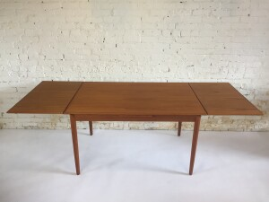"""Gorgeous Mid-century Modern teak draw-leaf dining table - lovely classic design with soft bullnose edges - beautiful grain - newly refinished - measures - 51""""L x 34""""D x 29.5""""H - fully extended 0 90""""L(SOLD)"""