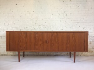 Outstanding Classic Sleek Mid-century Modern teak sideboard with tambour doors designed by Svend Aage Larsen for Faarup Mobelfabrik - Denmark - newly re-finished and looks absolutely stunning - measures -SOLD