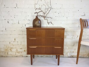 """Spectacular 1960's small teak chest of drawers - quality Danish craftsmanship - this beauty would look great in an entry way with a mirror and chair, or beside your bed - many uses -23.5""""W x 12""""D x 25""""H $500"""