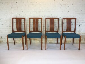 Gorgeous Scandinavian Modern teak dining chairs by Hugo Troeds - Made in Sweden circa 1960's - completely restored - newly re-finished solid teak frames and new foam and high quality Kvadrat wool upholstery - ready for another 60 years :) (SOLD)