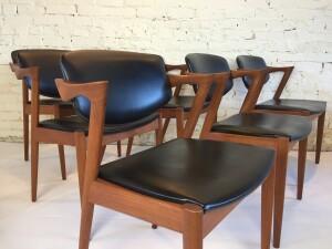 Impressive Set of Mid-century Modern teak dining chairs designed by Kai Kristiansen for Schou Andersen - Denmark - in very nice original vintage condition - the wood is stunning (SOLD)