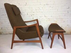 An Incredibly stylish teak high-back lounge chair and ottoman imported by Westnofa of Norway, beautifully sculpted frame and removable head cushion - (SOLD)