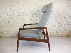 Striking Mid-century Modern teak reclining lounge chair - newly restored in a stunning quality light grey wool -Hallingdal 65 by Kvadrat - the perfect chair for kicking back and watching your favorite show - listening to your favorite vinyl records or podcast or getting all engrossed in your latest book find - (SOLD)