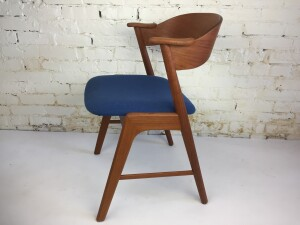 Gorgeous Mid-century Modern teak elbow chair designed by Kai Kristiansen for Korup Stolefabrik - Made in Denmark - would make a fabulous desk chair/ dining chair or entry chair - lovely refinished wood frame and newly upholstered seat - one available - $675