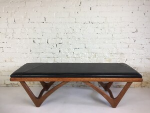 """Spectacular Sculptural Mid-century Modern bench in the style of Adrian Pearsall -it would look amazing in an entry way or at the foot of a bed or under a window ledge - etc...incredibly sturdy - cleaned up and ready for your home - measures - 57""""L x 19""""D x 17""""H"""