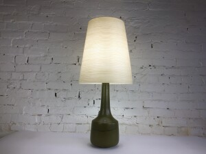 """Absolutely Gorgeous Mid-century Modern ceramic lamp by husband and wife duo Lotte & Gunnar Bostlund - comes with it's original fiberglass shade -stands - 33""""H to top of shadestands 33""""H to top of shade(SOLD)"""