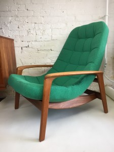 """Incredible Iconic Mid-century teak lounge chair lovely referred to as the """"Scoop"""" or """"Palm"""" chair .. :) by Canadian Company R.Huber - 1969 - this beauty has been completely restored with newly refinished solid teak frame,new foam and upholstery by Maharam ( very durable fabric) and the color is a must see in person it just pops in a really delightful way :) - and did I mention that this chair is incredibly comfortable - (SOLD)"""