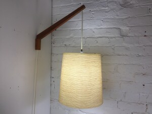 """Designed by Lotte and Gunnar Bostlund circa 1960's - this beauty features the original fiberglass shade suspended from a pivoting teak wall sconce - perfect for beside your lounger or sofa, also makes a fabulous bedside lamp - shade measures - 11.5 D x 12""""H and i 20.5"""" from the wall -(SOLD)"""