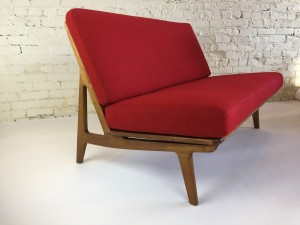 "Exceptional and UBER ""RARE"" Mid-century Modern love seat designed by Peter Hvidt & Orla Molgaard - Nielsen - in restored condition - new foam and upholstered in a stunning high quality red wool by Maharam - fantastically comfortable --49""L x 31""D x 29""BH x 16.5""SH (SOLD)"