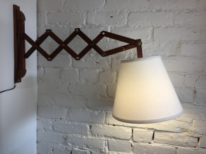 Fantastic Mid-century Modern 60's teak scissor wall light with a new custom shade - perfect for a bedside lamp or also works great beside a sofa or perhaps your favorite reading chair :) - newly rewired - $400