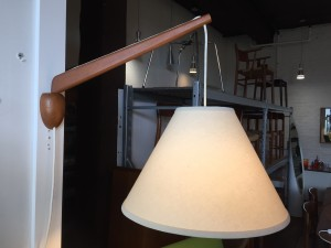 Gorgeous Mid-century Modern teak wall light with a new custom shade - swings side to side - so one can adjust to suit - (SOLD)