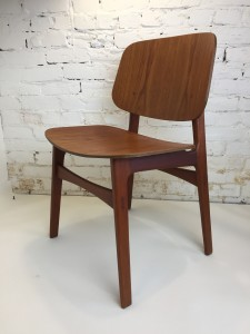 Incredible 1950's Scandinavian Modern teak dining chair Designed by Borge Mogensen for Soborg Mobelfabrik - Made in Denmark - this beauty has incredible style with fabulous detailing - newly refinished - one available - (SOLD)