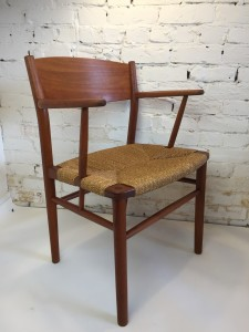 Classic Danish Modern teak armchair by Borge Mogensen - Made in Denmark - design year 1958 - this gorgeous chair can be used at the head of a dining table :) or as a desk chair or perhaps you need a stylish entrance chair - this beauty has a newly re-finished frame , the paper cord seat is in excellent vintage condition $650
