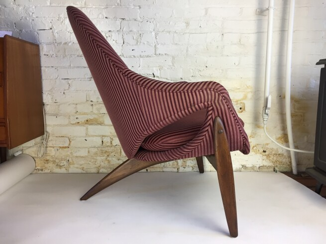 Exceptional Rare Mid-century Modern chair designed by Italian born furniture designer Luigi Tiengo and produced by the Canadian manufacturer Cimon Montreal in 1963 - newly re-finished wood base and has been re-upholstered at some point in it's life :) - very comfortable - a statement piece -(SOLD)