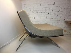 Classic Iconic 1950's lounge chair Designed by Architect /Professor A.J. Donahue - Canadian Modernism at it's best - newly restored from the back to the feet, new high quality foam and upholstered in a gorgeous high quality fawn color boucle fabric - very comfy - $2500