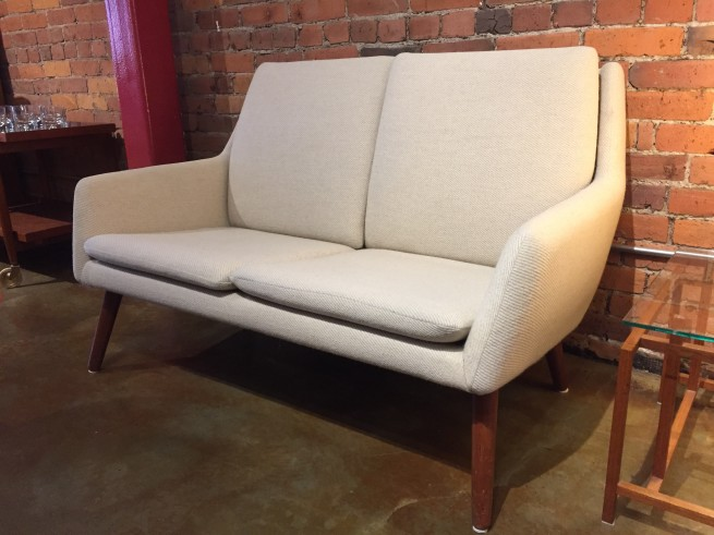 "Exquisite Danish 2 seater sofa/ loveseat in a gorgeous cream quality wool - Designed by Erik Osterman & H.Hopner Petersen for Godtfred Petersen - Made in Denmark - 49""W x 24""D x 30""BH x 15.25""SH - excellent vintage condition $1875"